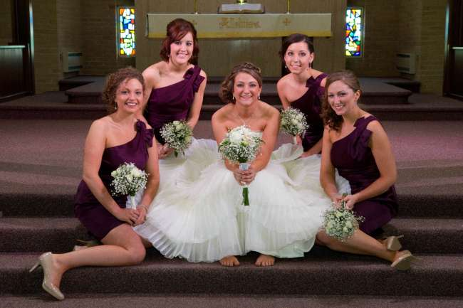 Bride & Bridesmaids With Baby's Breath & White Rose Bouquets