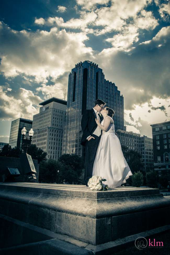 Bride & Groom on Monument in Downtown Indianapolis