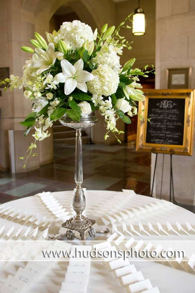 Place Cards Around Tall Centerpiece