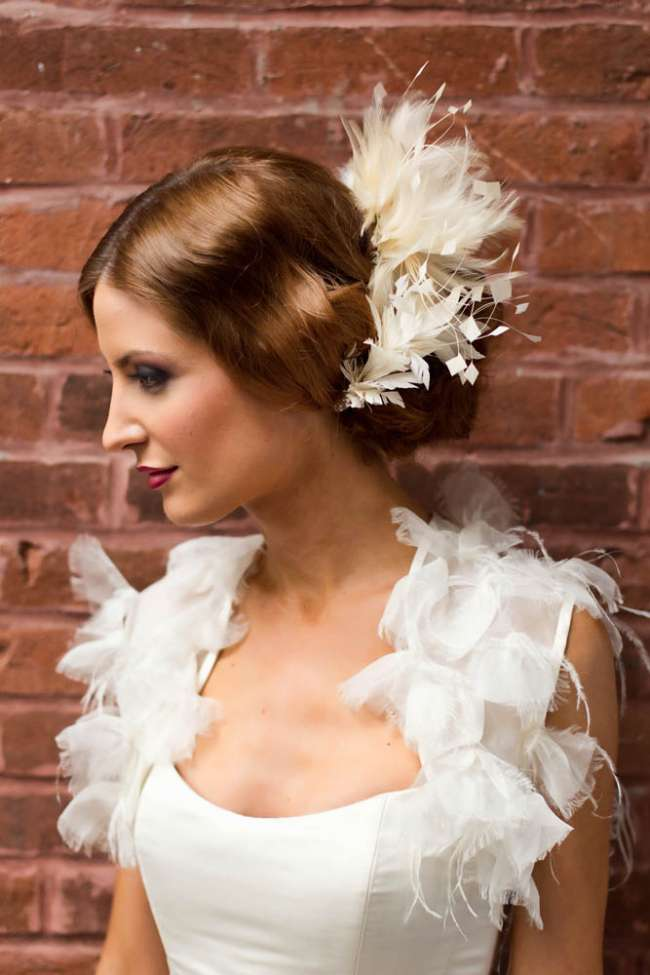 Bride with Dramatic Makeup & a Feather Headpiece