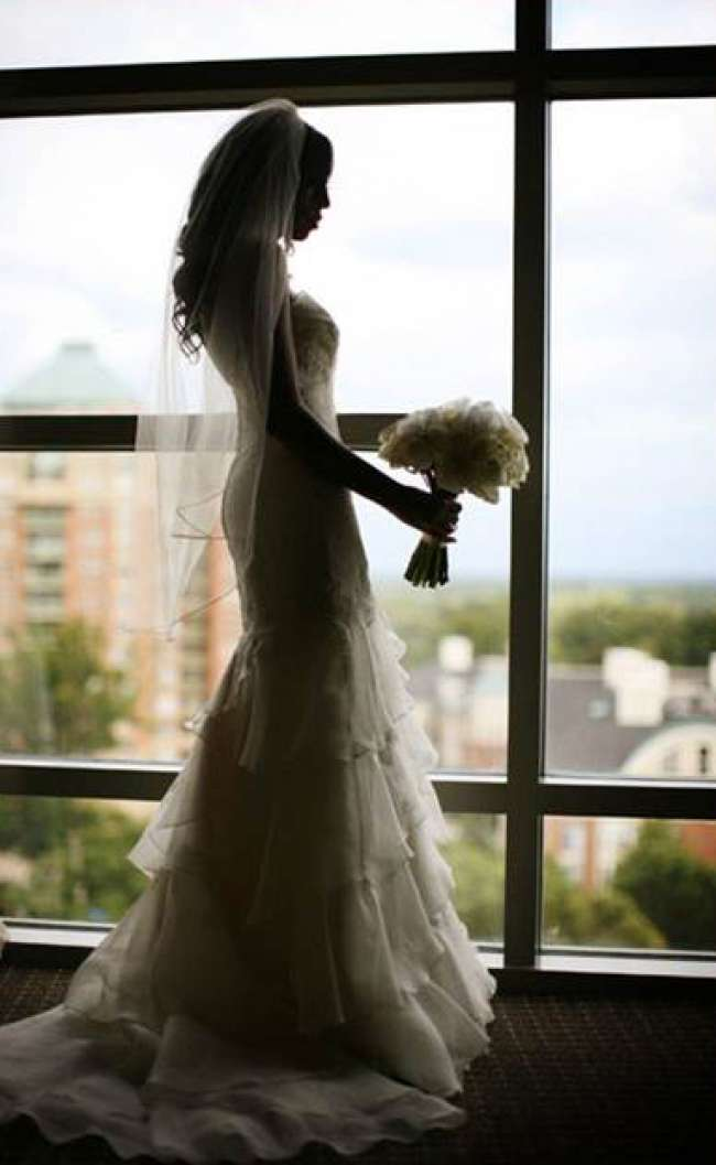 Silhouette of elegant bride