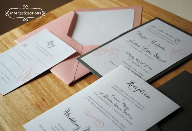 Wedding invitation set complete with reception card