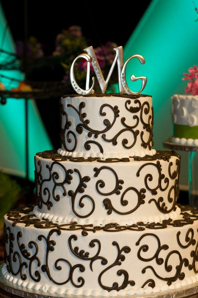 Black and white three tiered cake