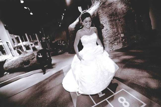 Bride playing hopscotch