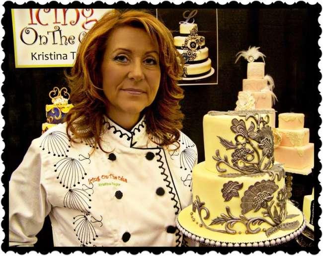 Gold embeveled wedding cake