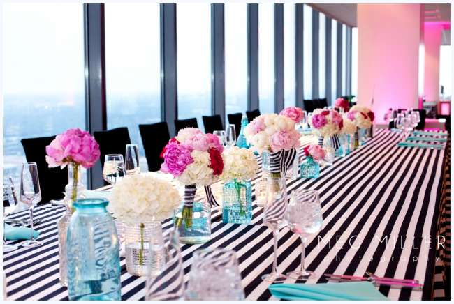 Striped table design for reception