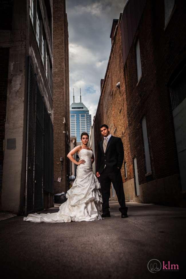 Bride & Groom in Indianapolis Alley