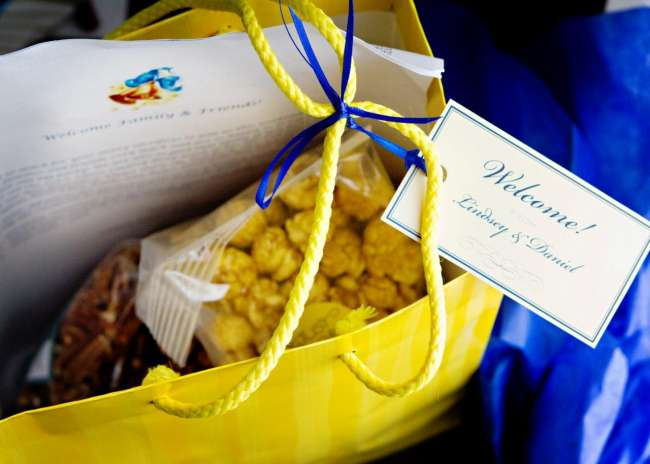 Blue and Yellow Guest Bags