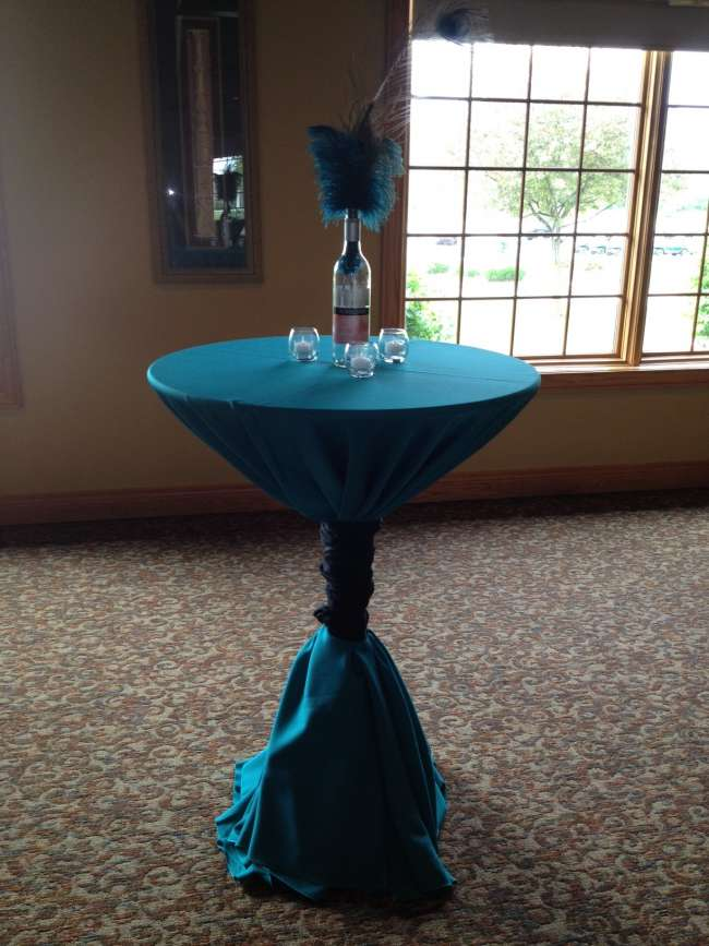 Peacock Feather Centerpiece on Cocktail Table