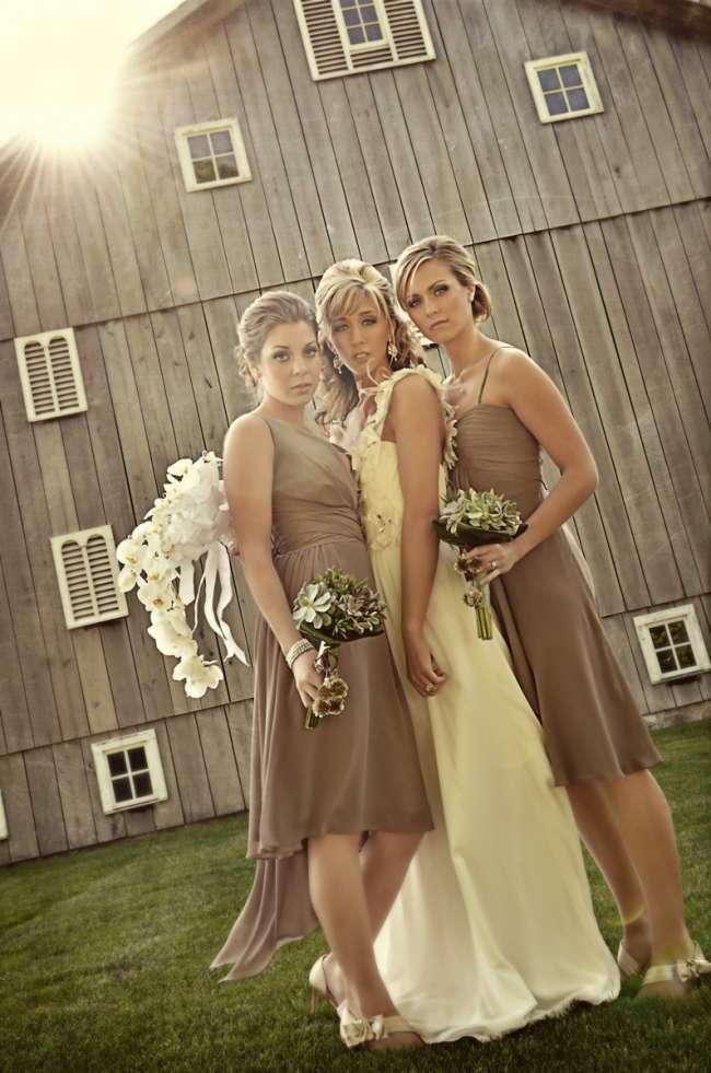 Bride & Bridesmaids in Front of Barn