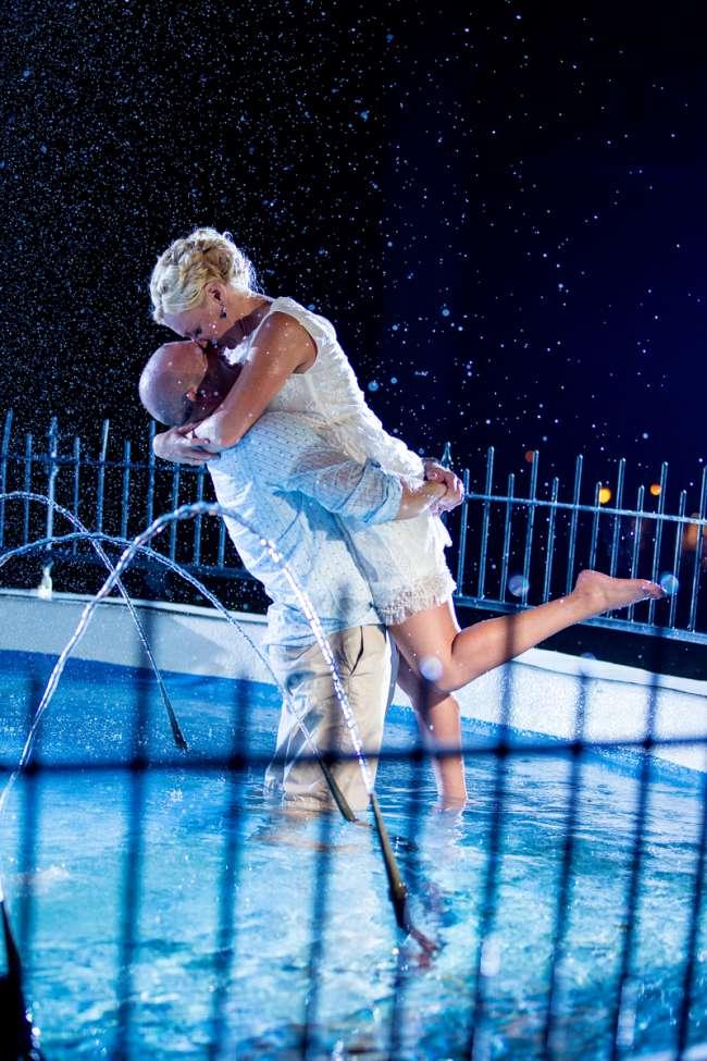 Bride & Groom in Casual Wear Kissing in Pool
