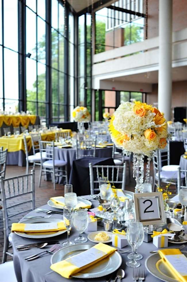 Fancy Gray & Yellow Table Decor