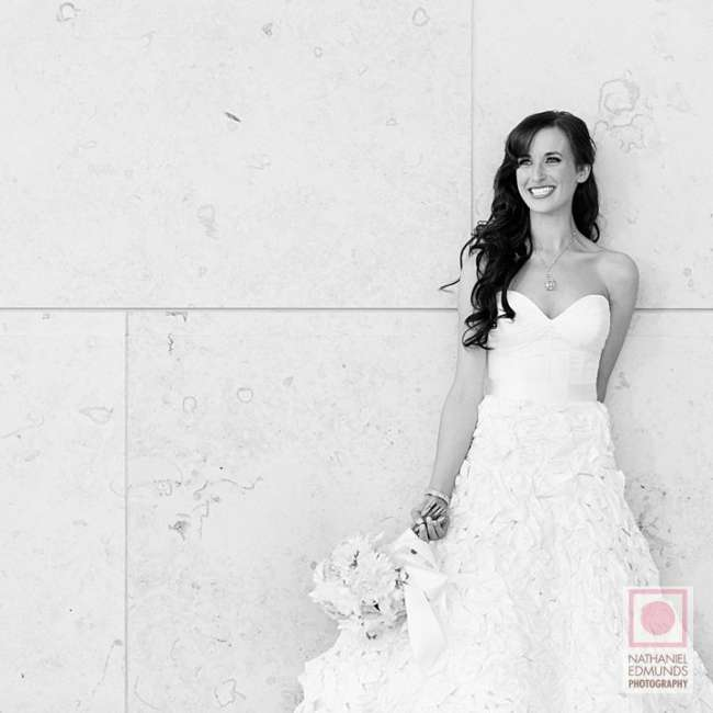 Bride against patterned wall