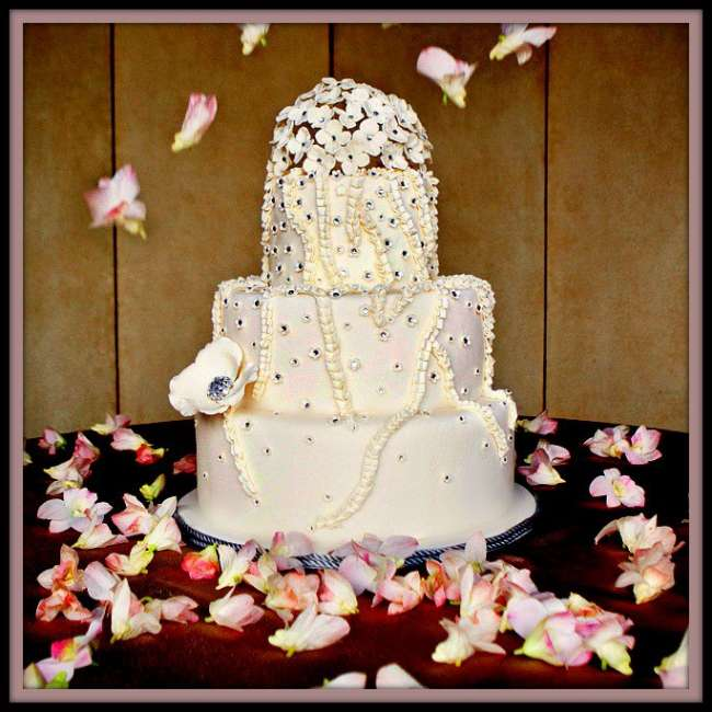 Diamond studded wedding cake