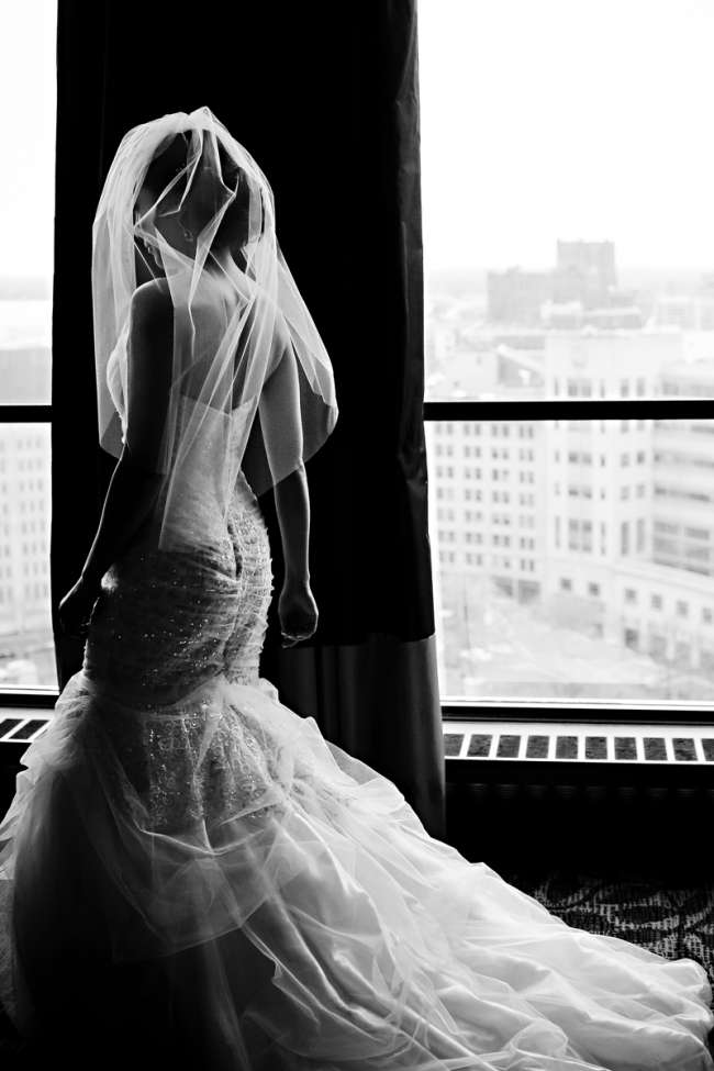 Bride Getting Ready in Front of Skyline