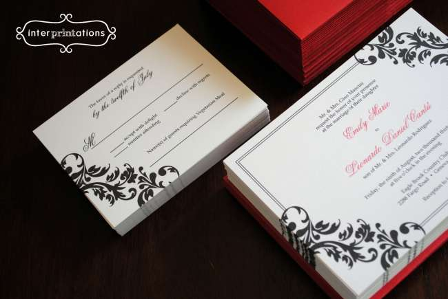 Black and white invites with a red accent