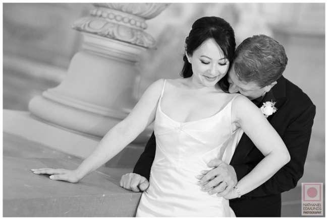 Groom Embraces Bride