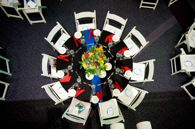 Unique vantage point of table setting