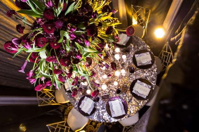 Glamourous Purple & Silver Tablescape