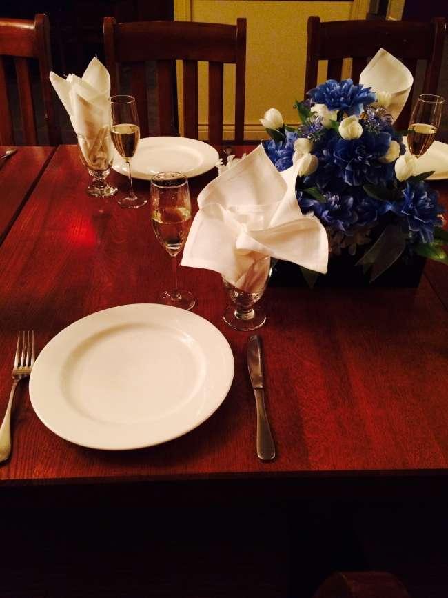 Reception Dinner Set in the Wine Cellar