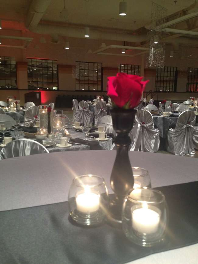 Rose Centerpieces with Candles