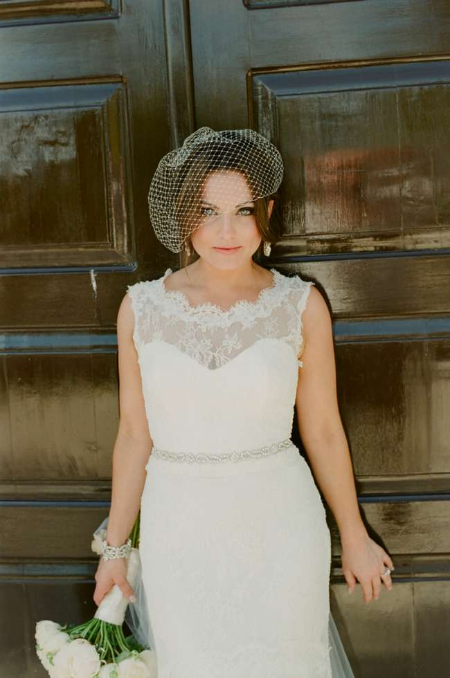 Vintage Bride in Front of Doors