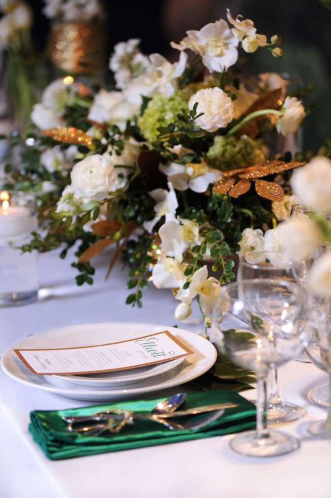 White, Gold & Green Tablescape