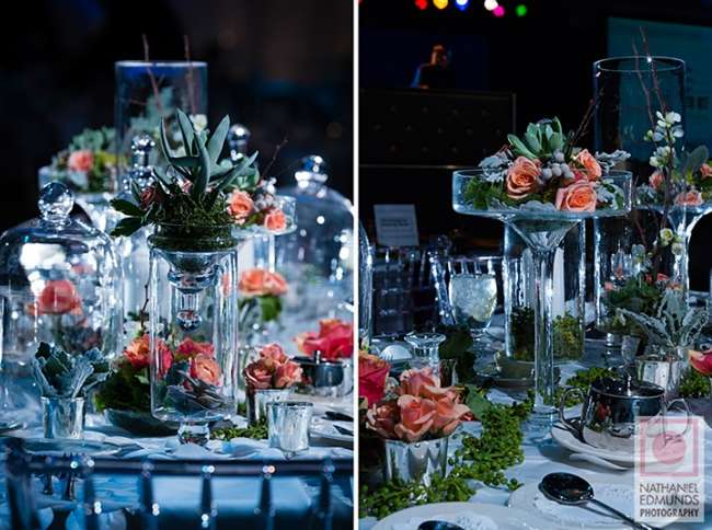 Various heights add dimension to the table design