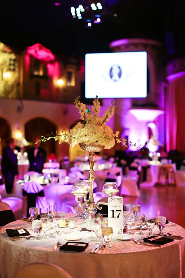 Stunning Tablescape at Reception at Indiana Roof Ballroom