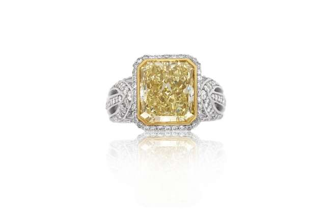 Two-Toned Cushion-Cut Engagement Ring