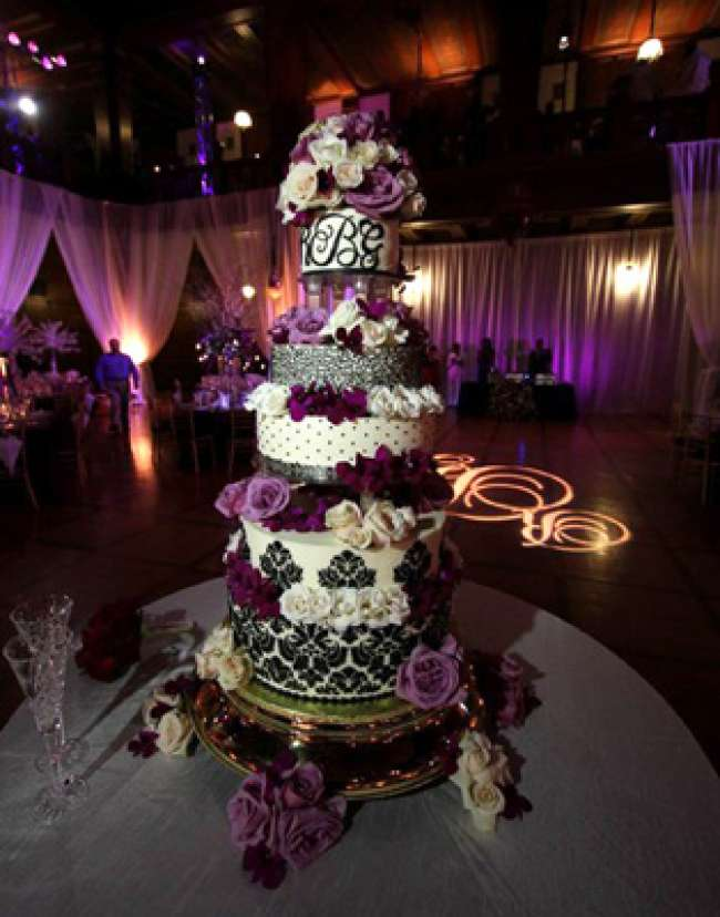 Damask, Lace, Dotted Swiss Monogrammed Cake