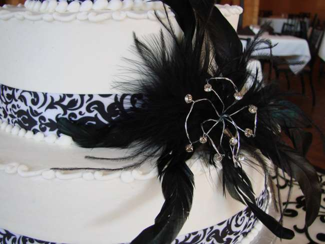 Black and White Cake With Feather