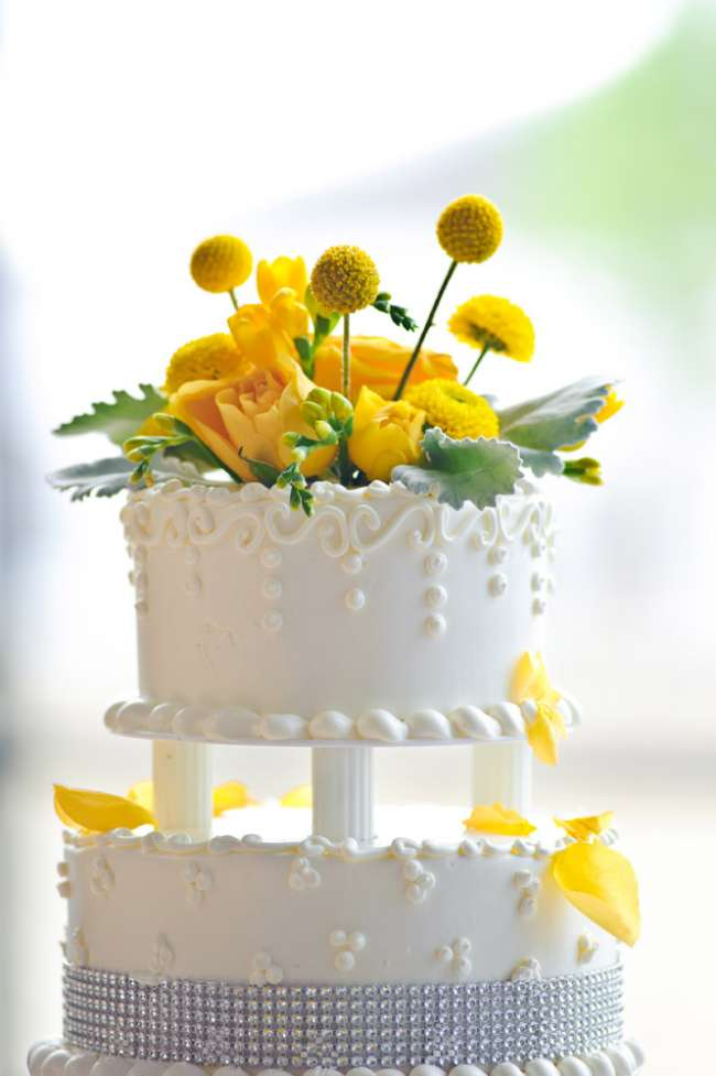Yellow Flowers on Cake