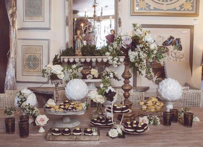 Vintage, Romantic Dessert Table