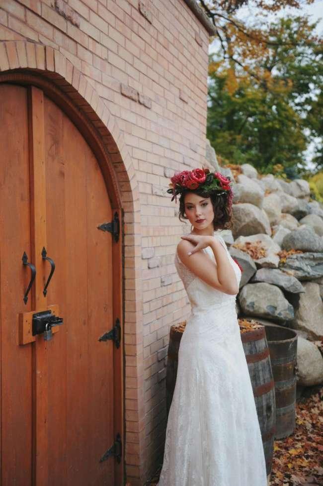 Vintage Bride With Floral Headpiece