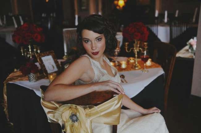 Vintage Bride at Reception Table