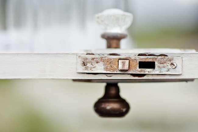 Distressed Door Used as Table