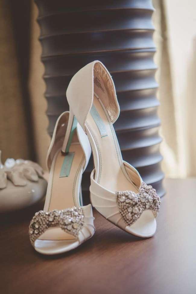 Ivory Heels with Rhine Stone Bow