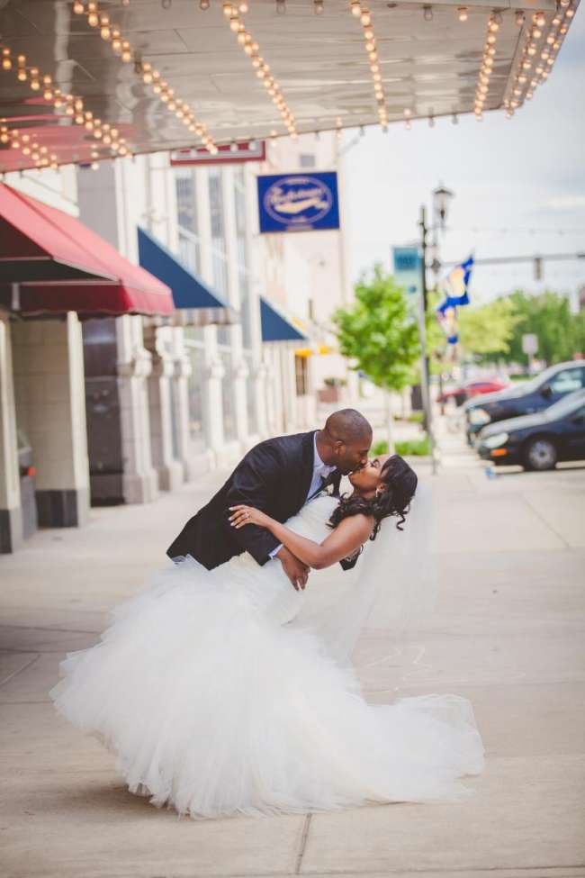Bride & Groom Kiss in Downtown South Bend