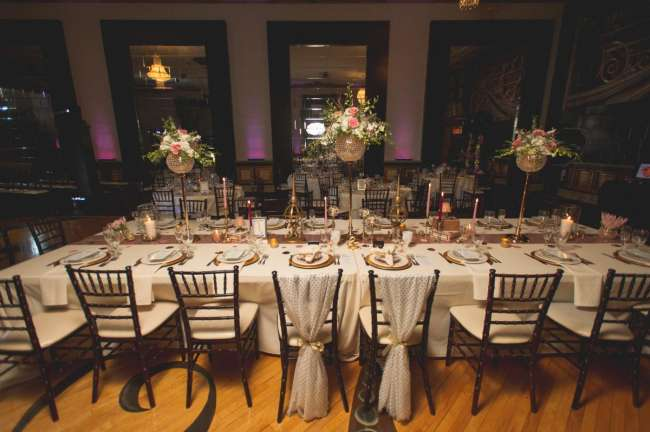 Lavish King's Table With Crystal Floral Arrangements