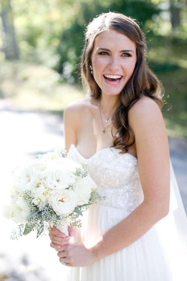 Bride with Delicate White Bouquet