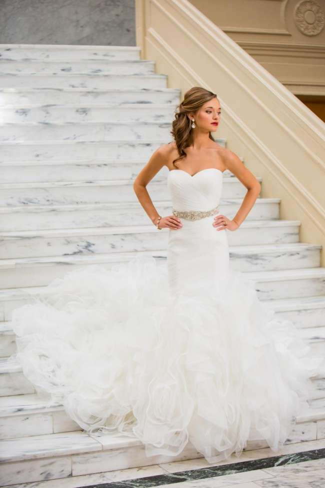 Lace Trumpet Gown with Detachable Tulle Skirt