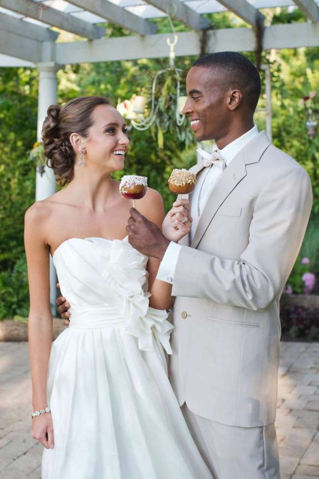 Bride & Groom With Caramel Apples