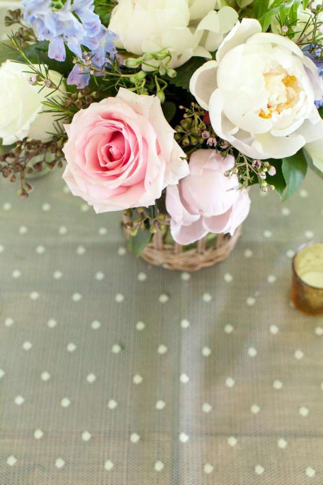 Delicate Spring Centerpiece on Polka Dots