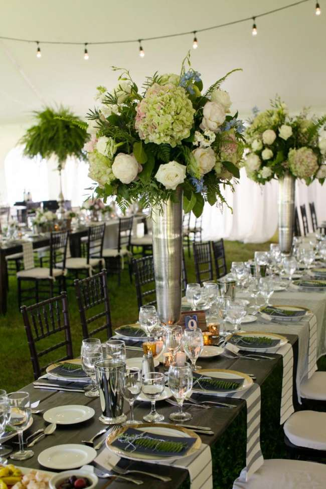Tall Florals at Outdoor Reception