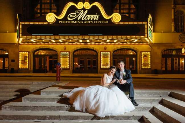 Wedding Couple in front of Morris Performing Arts Center