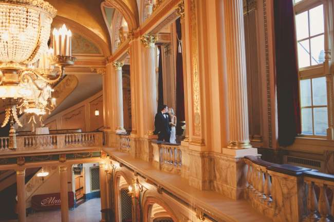Wedding Couple in Morris Performing Arts Center Grand Lobby