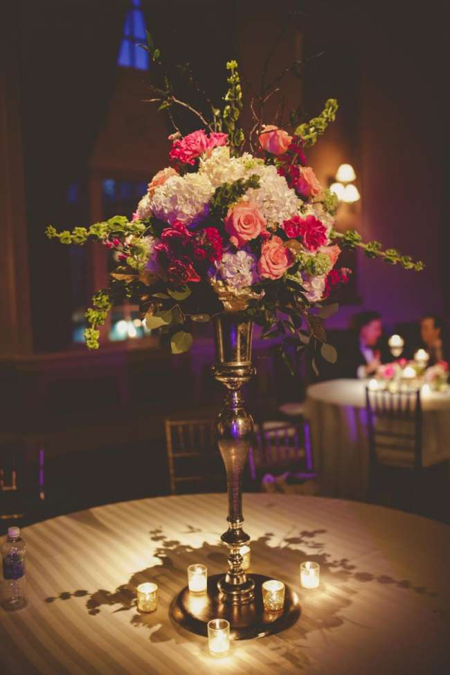 Floral Centerpiece at Palais Royale ballroom reception