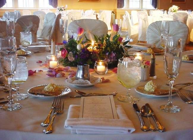 Palais Royale reception tablescape with pink tulip centerpieces
