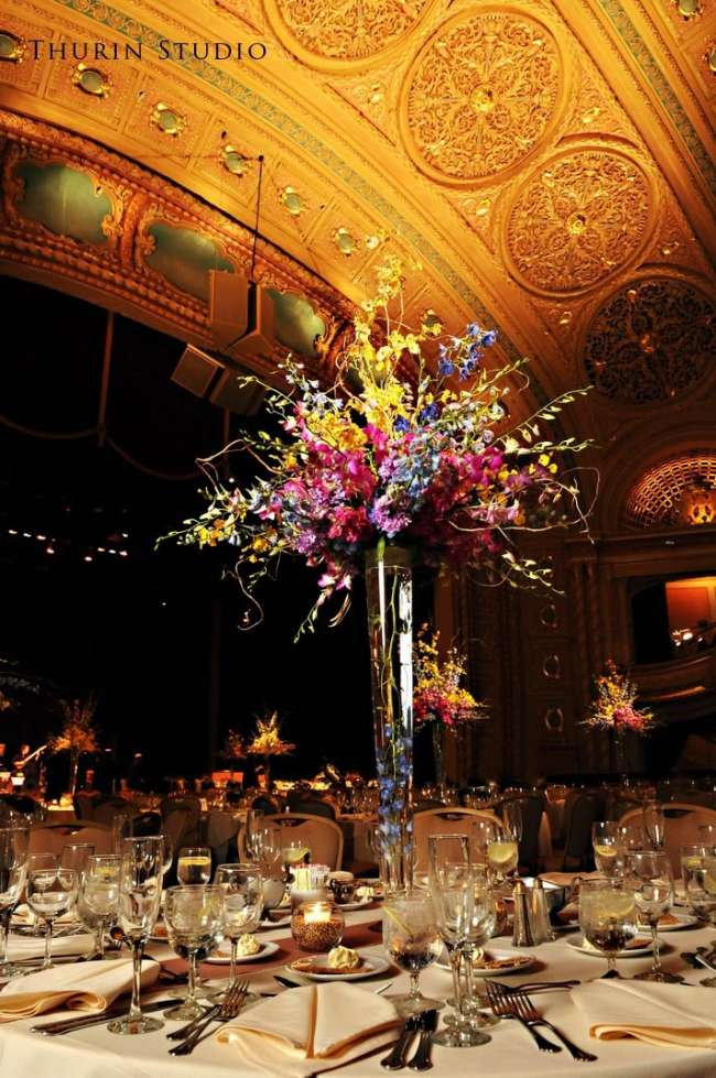 Table Centerpiece at Wedding Reception at Morris Performing Arts Center on platforming over theater seating